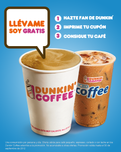 Dunkin Coffee Te Invitan A Un Café Gratis